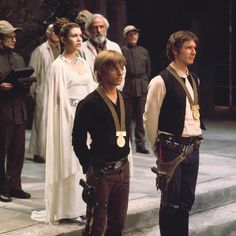 Harrison Ford as Han Solo, Mark Hamill as Luke Skywalker, Carrie Fisher as Princess Leia