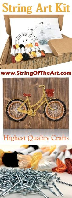 This DIY String Art Bicycle Kit is a one-of-a-kind design ready to be strung up for display in your home. Materials: The DIY Kit's 16″ by 12″ wood board is hand sanded and hand stained dark walnut. Ev