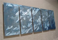 Frost / Large 64x24 Abstract Modern Metal Wall Art by Niderart, $235.00