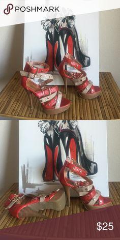 Women's Heels Plat Straps n Studs Lilliana Shoes Platforms