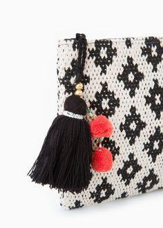 Püsküllü etnik el çantası