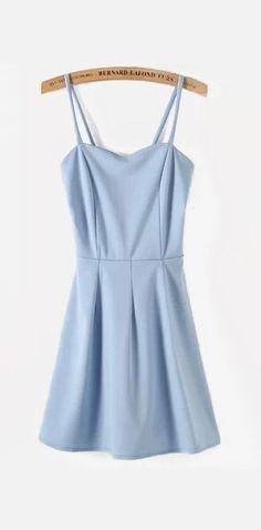 Light Blue Spaghetti Straps Skater Short Dress