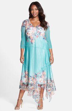 Komarov Print Chiffon Handkerchief Hem Dress (Plus Size) available at #Nordstrom