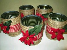 Great Pic Christmas Vases made from recycled tin cans Concepts The theory to provide Xmas gifts shows to be an incredible thought that you will remember forever. Easy Homemade Christmas Gifts, Easy Christmas Crafts, Simple Christmas, Christmas Projects, Christmas Vases, Christmas Centerpieces, Christmas Decorations, Vase Decorations, Christmas Christmas