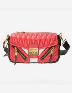 3fc33d1bb836 Miu Miu Nappa Biker Shoulder Bag in Red White Matelassé Leather Purse  Handbag RR1903 F0976 Purses