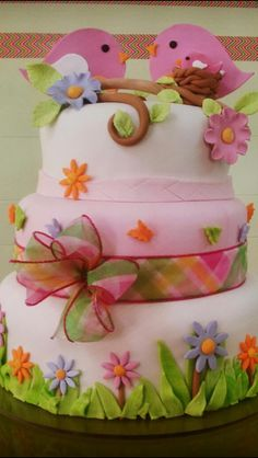 Spring Cake. Love the border and birds