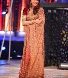 Buy Beige Net Saree with Red Velvet Blouse madhuri-dixit-saree online