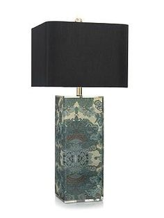 Boasting gorgeously printed fabric encapsulated in clear acrylic and a chic rectangular black shade, the Block of Color Table Lamp is sure to bring new life to any accent table.