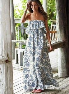 Victorias Secret Paisley Linen Maxi Dress with Ruffle