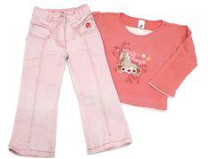 Rosa Jeans in leichtem Bootcut mit runden Eingriffstaschen und #Palomino by C&A Langarmshirt in Gr. 104