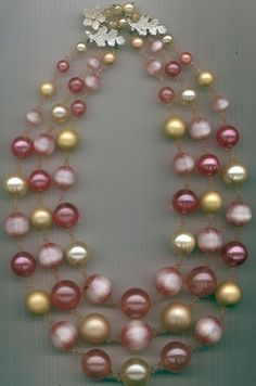 Vintage 3-strand Vendome necklace -- chunky with pink and cream lucite beads