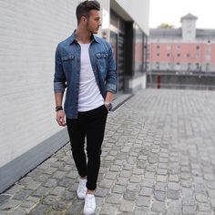 Light denim shirt, white t-shirt, black chinos, white shoes