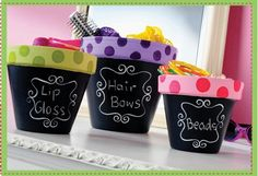 Catch-alls made from ceramic pots painted with chalkboard paint - cute idea!