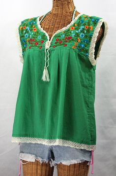 """La Marbrisa"" Embroidered Mexican Style Peasant Blouse Top - Green"