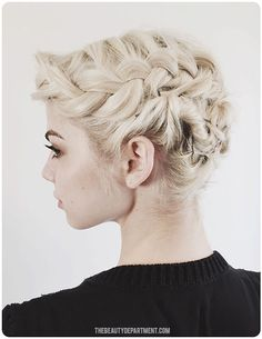 W/ a little product & a whole 'lotta bobby pins, you can create this fab updo for short hair in a jiff. Just because you have short hair doesn't mean you can't style it up!