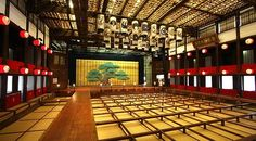 A Kabuki theater (note the platform protruding from the stage into the audience) Kanamaruza Theater