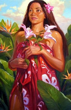 Hawaii - *Leilani~~ Original Oil by James Finch . Polynesian Art, Polynesian Culture, Hawaiian Art, Hawaiian Girls, Caribbean Art, Vintage Hawaii, We Are The World, Arte Popular, Surf Art
