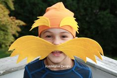 Lorax hat & mustache - costume accessories for kids. $18.00, via Etsy.