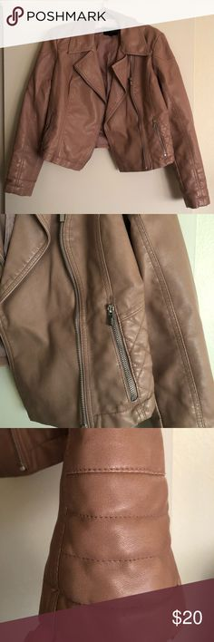 Faux leather jacket - pls read description Faux leather jacket - 100% polyester. Armpit to bottom is about 11 inches. I've had this jacket for a while - please note the damage on the semi-inner collar area. Unfortunately, this is due to age and not being real leather. With that said, I believe it can be repaired or you can pop the collar when wearing to disguise it. If you don't mind that flaw - the jacket has so much life left! The rest of the jacket is in great condition. Express Jackets…
