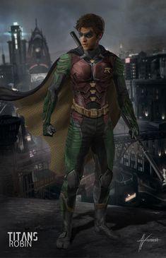 Robin Suit, Heavy Metal Comic, Dc Comic Costumes, Young Justice League, Superhero Pictures, Robin Tim Drake, Superhero Villains, Superhero Design, Comic Movies