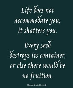 Life does not accomodate you; it shatters you. Every seed destroys its container, or else there would be no fruition. Florida Scott-Maxwell