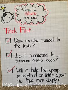 5 Anchor Charts to Support Reading Discussion  (Creating Readers & Writers)