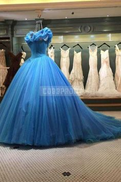Luxurious Ocean Blue Cinderella Off-shoulder Ball Gown Evening Dress