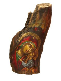 Hand-painted Icon on Tree Trunk Wood in Traditional by BYZANTINO