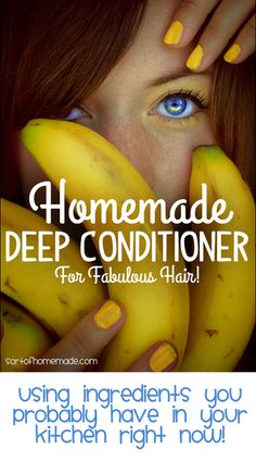 DIY Deep Conditioner- ½ banana, ½ avocado, ½ cup yogurt, 1 tsp. coconut oil (melted), 1 tsp. apple cider vinegar. Mix in food processor, apply to hair after shampooing. Leave in 15 min, rinse with warm water.