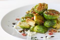 Caramelized Brussel Sprouts with Feta Cheese and Balsamic Reduction