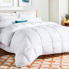 comforters for hot sleepers: LINENSPA All-Season White Down Alternative Quilted Comforter - Corner Duvet Tabs - Hypoallergenic - Plush Microfiber Fill - Machine Washable - Duvet Insert or Stand-Alone Comforter - Queen Fluffy Comforter, Twin Xl Comforter, Down Comforter, Duvet Bedding, Linen Bedding, Bedding Sets, Bed Linens, White Bedding, Weighted Comforter