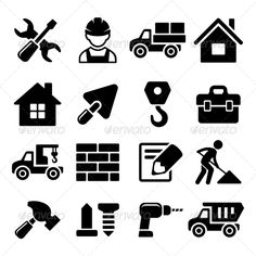 Construction Icons Set on White Background — JPG Image #collection #helmet • Available here → https://graphicriver.net/item/construction-icons-set-on-white-background/8560388?ref=pxcr