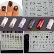 1 sheets 3d DIY Tips Designs Shining Gold Silver Decals Nail Art Stickers Fashion Nail Decorations Manicure Tools NC090(China (Mainland))