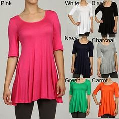 24/7 Comfort Apparel Women's 3/4-sleeve Tunic | Overstock.com -- I want the white, black, and gray ones! :D