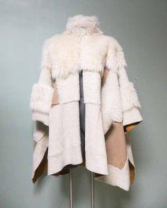$6395 Chloe Reversible Fur Suede Leather Shearling Wool Patchwork Cape Coat  #Chloe #Cape