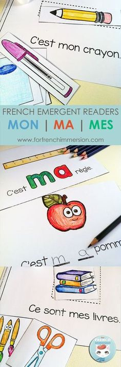 French MY Emergent Reader – 3 books: MON, MA, MES. Printable file for kids learning to read French. Also great practice of classroom vocabulary in French. French MY Emergent Readers: MON French Teaching Resources, Teaching French, Teaching Spanish, Spanish Activities, Literacy Activities, French Lessons, Spanish Lessons, French Worksheets, Core French