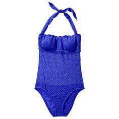 Mossimo® Women's Crochet Mix and Match 1-Piece Swimsuit -Grace Bay Blue