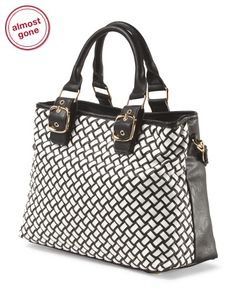 Black+And+White+Woven+Tote