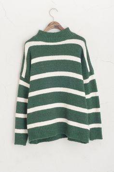 High Neck Stripe Knit Jumper Green 60% Acrylic, 40% Wool.