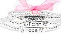 "Faith, Hope, and Love Silver Bead Stretch Bracelet Set Silver Insanity. $6.98. Made of a Silver Tone Base Metal. Recommended for up to a 7.5"" Wrist."