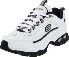 Skechers Mens Energy Afterburn Running Shoe,White/Navy,12 M