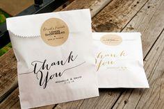Calligraphy Thank You Bags  Wedding Favor Bag   Wax by mavora, $27.50