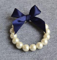 Wedding bracelet ,pearl bracelet,Ribbon Ties bracelet,navy Ribbon ,Glass Pearl bracelet,.bridesmaid bracelet,Jewelry,bracelet, on Etsy, £4.24