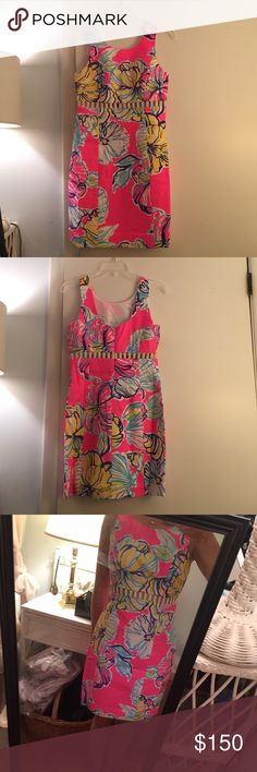 NWT Lilly Pulitzer Iggy Cut Out Shift Dress Super fun Lilly Pulitzer Iggy cut-out shift dress has never been worn and is NWT! Have original packaging which i can include. Print and dress are a little too big on me😭 so I am selling. Will consider all offers! Lilly Pulitzer Dresses Midi