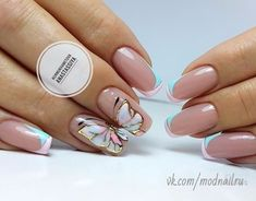 20 ніжних варіантів манікюру з метеликами. #neil #gold #butterfly #whitish #shortnails #roundnails #маникюр #дизайнногтей #гельлак