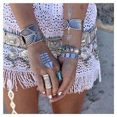 silver jewellery + crochet #boho