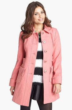 Tulle Button Detail Wool Coat (Juniors) available at #Nordstrom