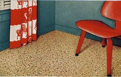 Vintage linoleum from the fifties with red, white, and black speckles. Love the Here are some Modern Ranch Houseplans. Old Kitchen, Vintage Kitchen, Vintage Room, Vintage Ads, Kitchen Ideas, House Design Photos, Cool House Designs, Linoleum Flooring, Floors