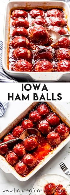 Not your average meatballs these iowa ham balls are a regional favorite made with leftover ham in a sticky sweet sauce! ham pork hamballs iowa easy recipe withgrahamcrackers sweetandsour meatballs leftovers easy oven baked pork chops bone in Ham Recipes, Casserole Recipes, Cooking Recipes, Meatball Recipes, Hamburger Recipes, Barbecue Recipes, Cooking Tips, Vegan Recipes, Easy Dinner Recipes
