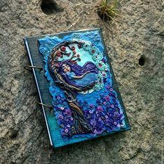 """Купить Скетчбук А5 """"Сны на дереве"""" Блокнот Планшет для рисования - синий, полимерная глина"""